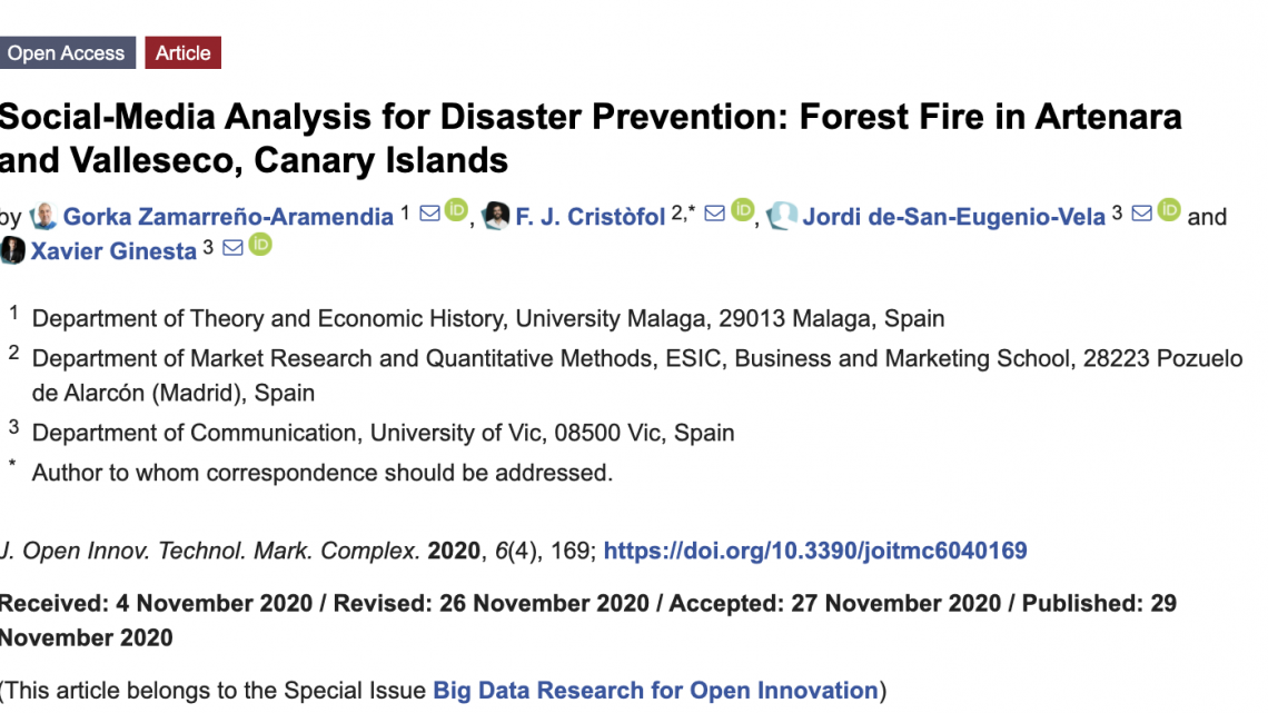Social-Media Analysis for Disaster Prevention: Forest Fire in Artenara and Valleseco, Canary Islands