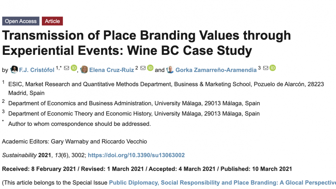 Transmission of Place Branding Values through Experiential Events: Wine BC Case Study